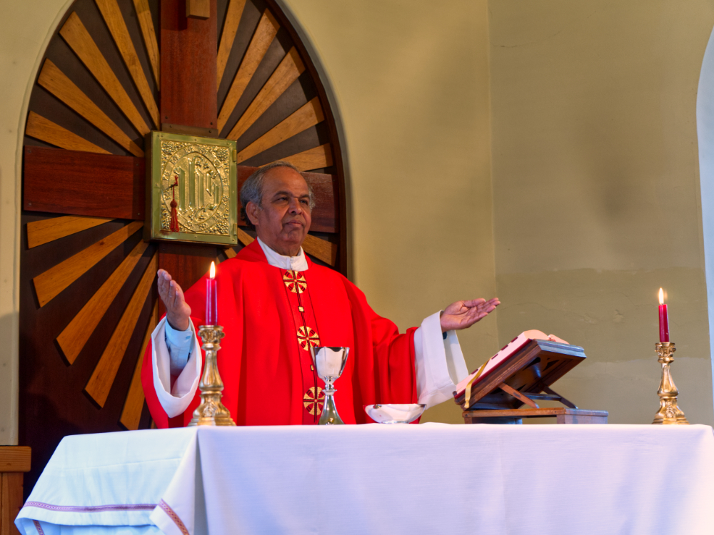 Father Bala celebrates the Holy Mass